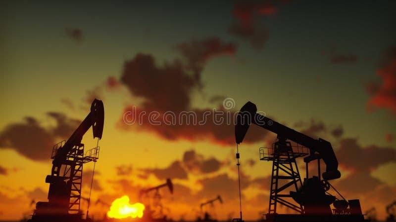 Насос поднимает промышленную машину домкратом для нефти в заходе солнца Силуэт насоса поднимает нагнетая масло домкратом против к стоковое изображение rf