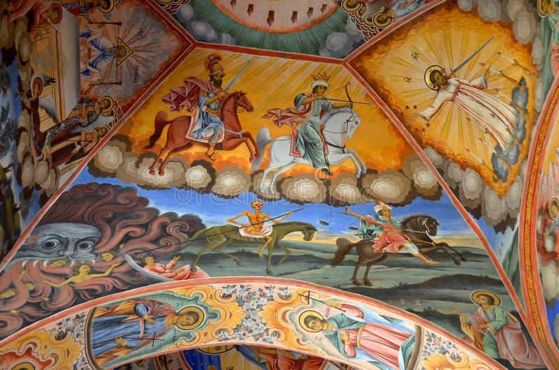 Настенная живопись на церков монастыря Rila стоковая фотография rf
