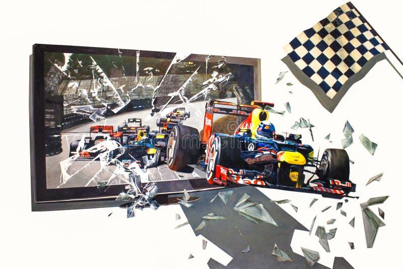 настенная живопись 3D гоночных автомобилей управляла из телевидения на стене стоковое изображение