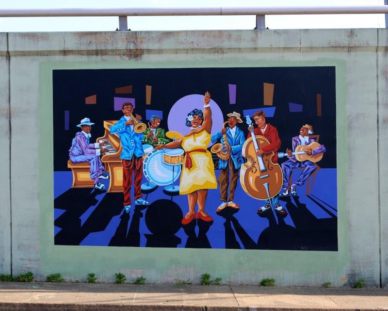Настенная роспись большого оркестра син джаза на дороге Джеймс в Мемфисе, Теннесси стоковое фото
