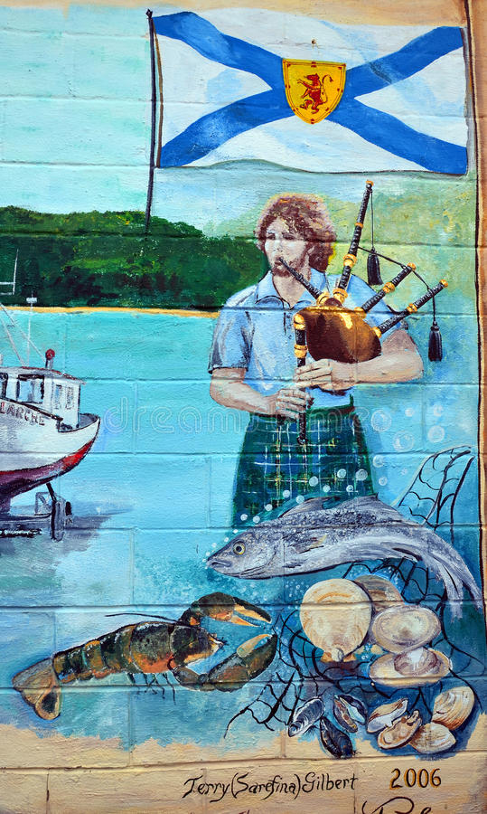 Настенная роспись говорит рассказ людей acadians стоковые фотографии rf