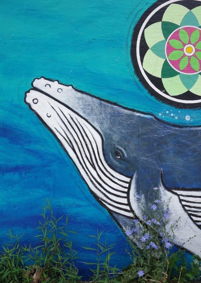 Настенная роспись горбатого кита стоковая фотография rf