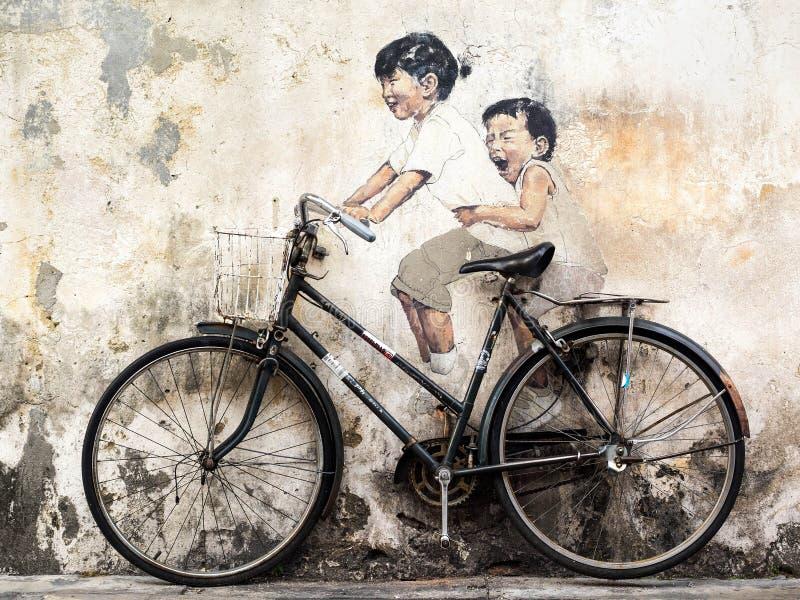 Настенная роспись искусства улицы в Джорджтауне, Penang, Малайзии стоковое изображение rf