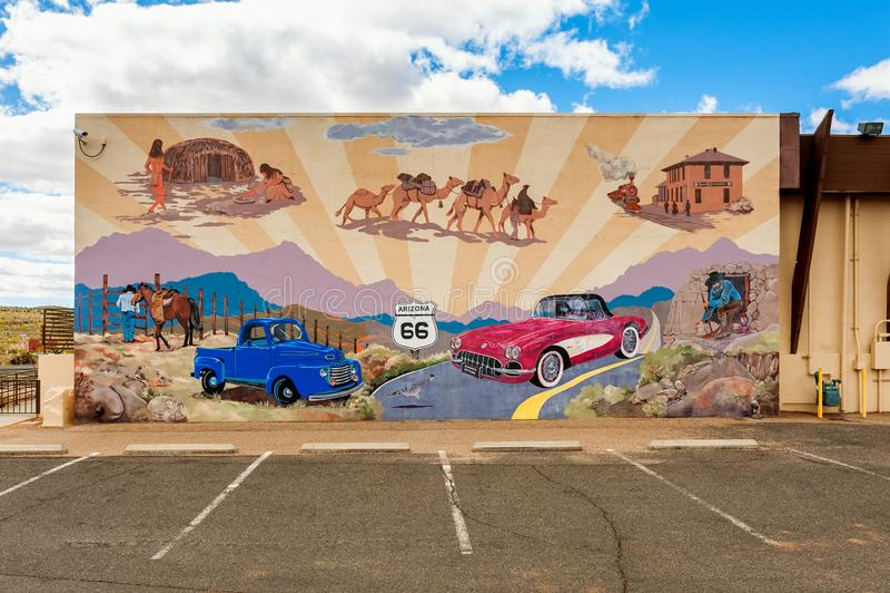 Настенная роспись маршрута 66 в Kingman Аризоне США стоковые изображения rf
