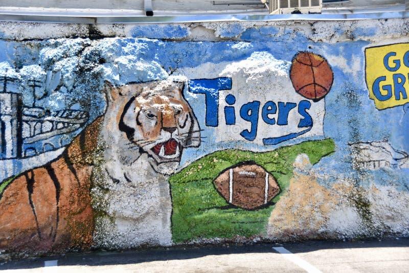 Настенная роспись Мемфис стены фрески университета Мемфиса, TN стоковые фото