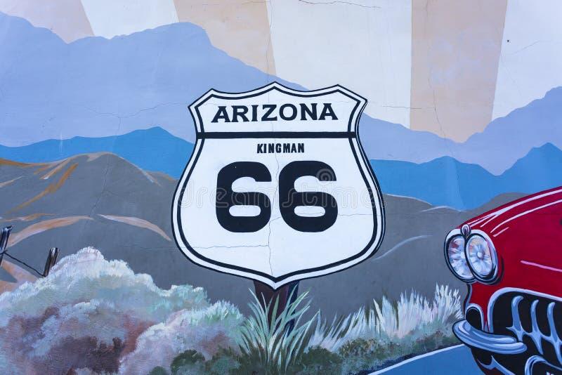 Настенная роспись на маршруте 66, Kingman, Аризона, Соединенные Штаты Америки, Северная Америка стоковое фото