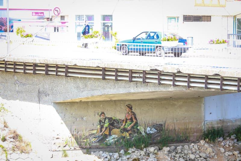 Настенная роспись под мостом стоковое изображение