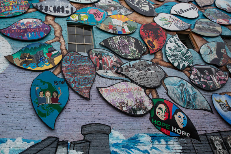 Настенная роспись солидарности Олимпия-Рафаха стоковые изображения rf