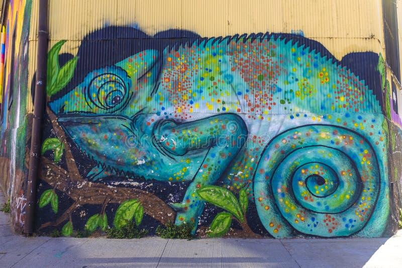 Настенная роспись стены большого диапазона в Вальпараисо стоковая фотография rf