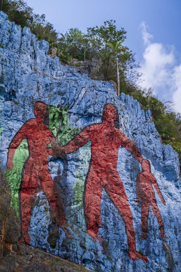 Настенная роспись de Ла Prehistoria, Vinales, ЮНЕСКО, провинция Pinar del Rio стоковые изображения rf