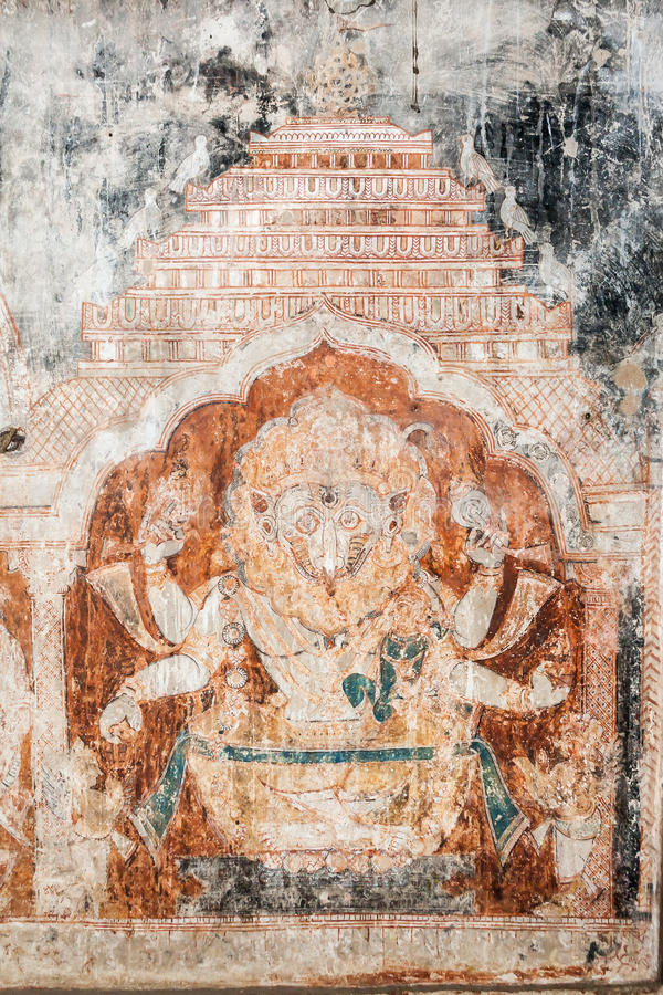 Настенная роспись Narasimha стиля Oriyan стоковое фото rf