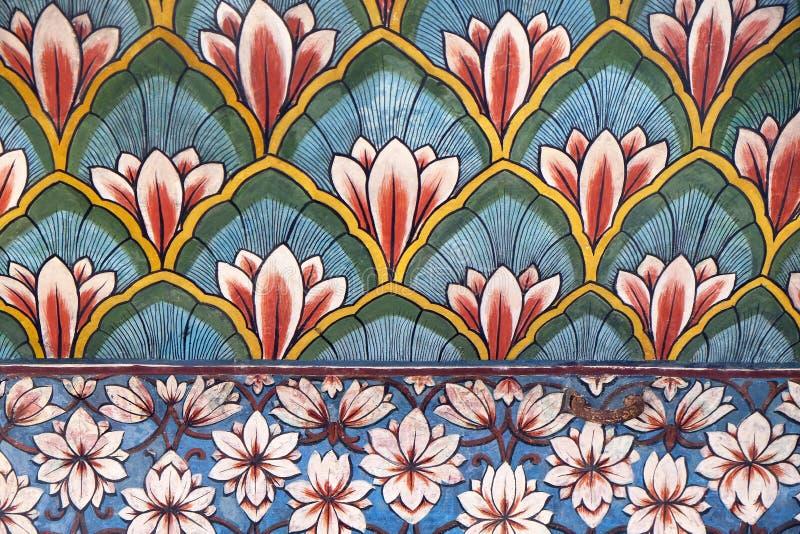Настенные живописи в Chandra Mahal, дворце города Джайпура стоковое фото