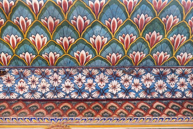 Настенные живописи в Chandra Mahal, дворце города Джайпура стоковое фото rf