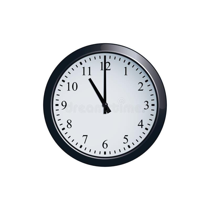 Настенные часы установленные на часы ` 11 o иллюстрация вектора