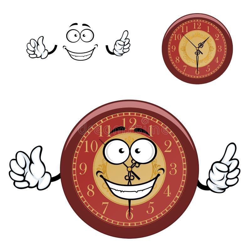 Настенные часы шаржа с руками иллюстрация вектора