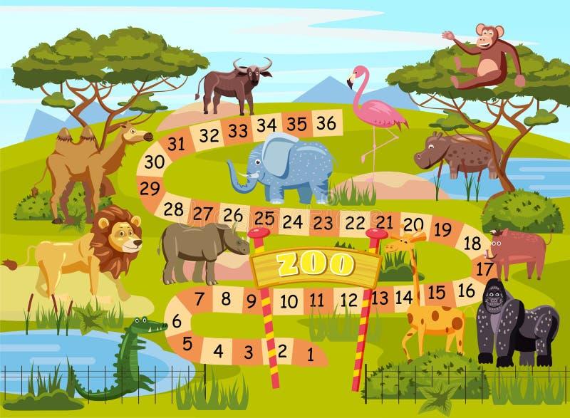 Настольная игра с номерами для детей, лев зоопарка, слон, фламинго, буйвол, бегемот, крокодил, горилла, верблюд иллюстрация вектора
