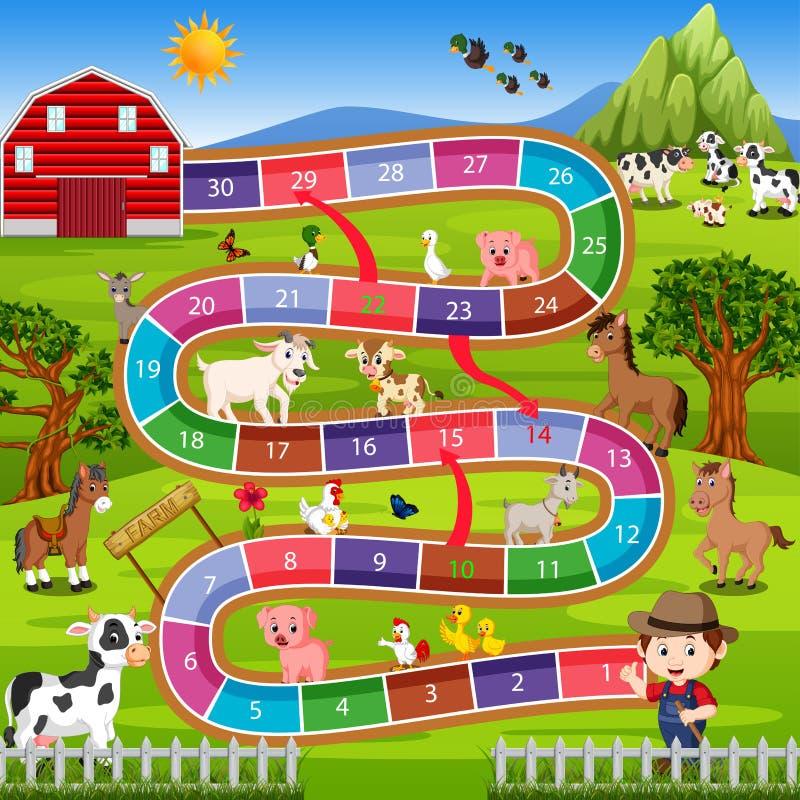 Настольная игра с предпосылкой фермы иллюстрация штока