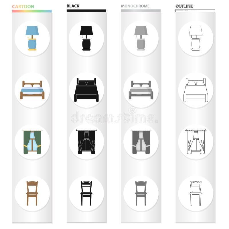 Настольная лампа, кровать, мебель спальни, окно с занавесами, деревянный стул Значки собрания мебели установленные в черноте шарж иллюстрация штока