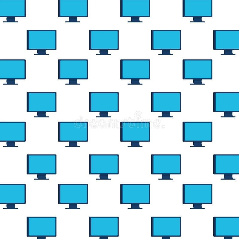 Настольные компьютеры мониторят фон шаблона иллюстрация вектора