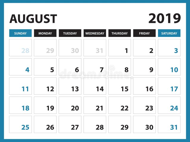 Настольный календарь для шаблона августа 2019, Printable календаря, шаблона дизайна плановика, недели начинает в воскресенье, диз иллюстрация вектора