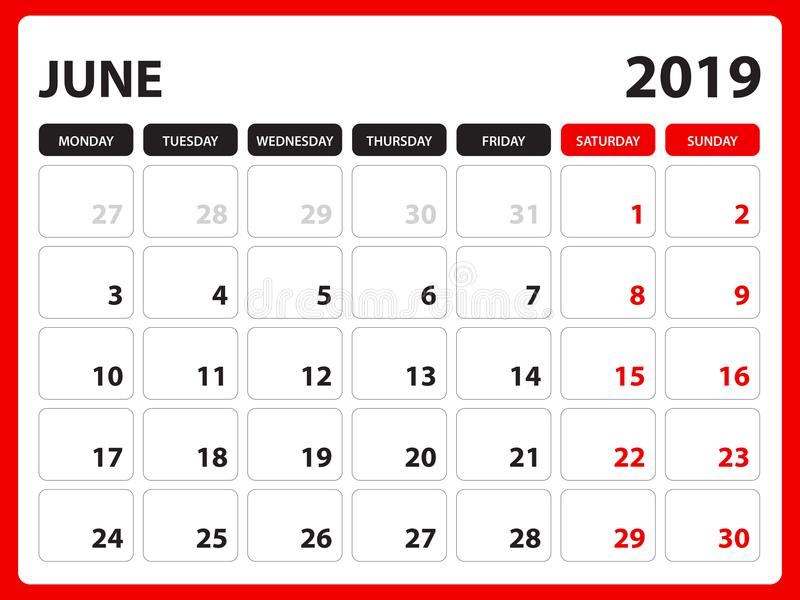Настольный календарь для шаблона июня 2019, Printable календаря, шаблона дизайна плановика, недели начинает в воскресенье, дизайн иллюстрация штока