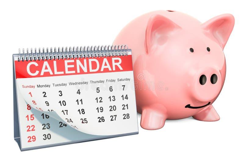 Настольный календарь с копилкой, переводом 3D иллюстрация вектора