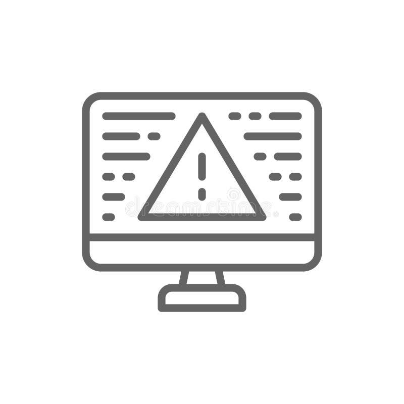 Настольный компьютер с линией значком предупредительного знака, ошибки экрана, уведомления, ноутбука и восклицательного знака иллюстрация штока