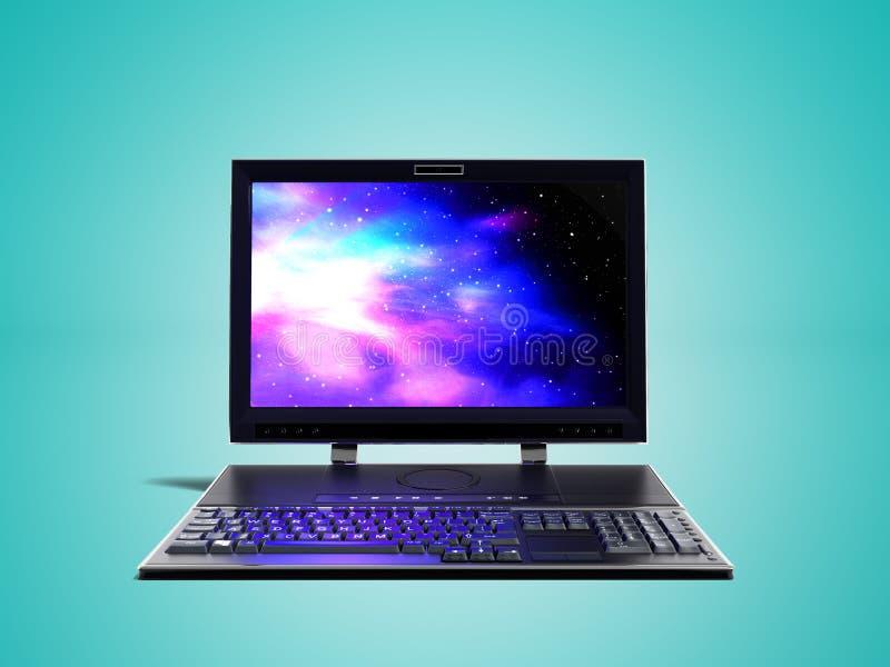 Настольный компьютер с монитором и клавиатура в переднем 3d представляют на голубой предпосылке с тенью иллюстрация штока