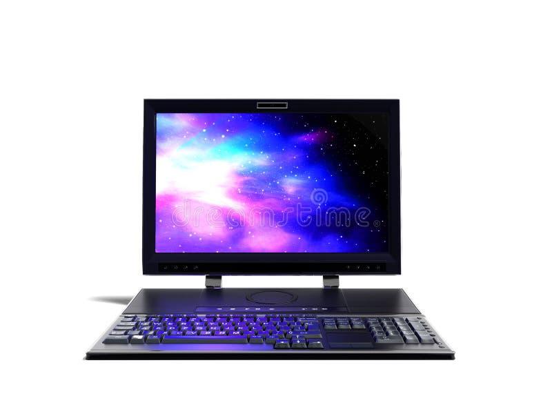 Настольный компьютер с монитором и клавиатура в переднем 3d представляют дальше иллюстрация штока