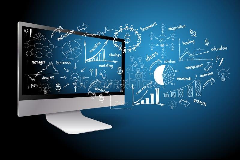 настольный компьютер с принципиальной схемой бизнеса-плана чертежа иллюстрация штока