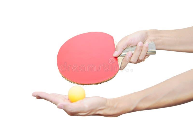 настольный теннис 2 удерживания руки летучей мыши шарика стоковые фотографии rf