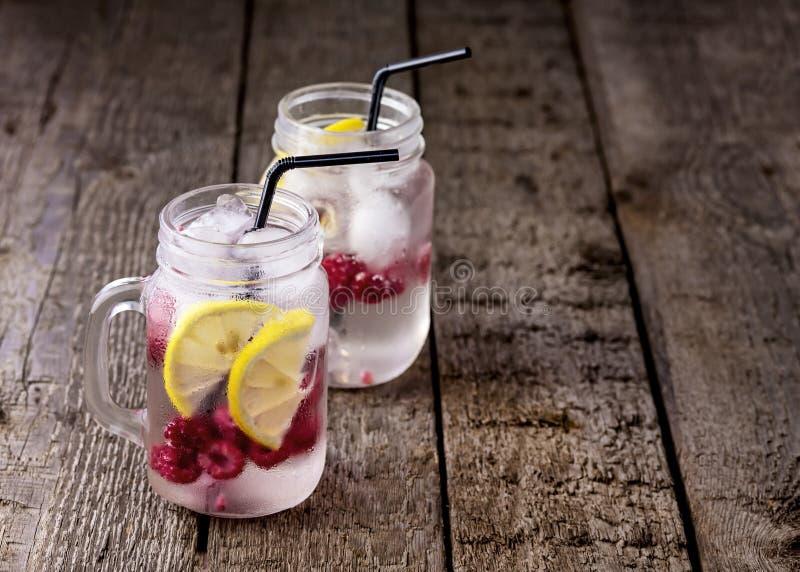 Настоянная вода с напитка вытрезвителя лимона и поленики плодом ягоды Lemonad здорового холодным в космосе экземпляра предпосылки стоковые фотографии rf