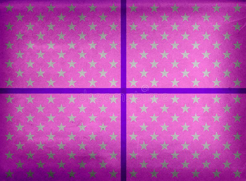 Настоящий момент обернутый в фиолетовых бумаге и ленте иллюстрация штока