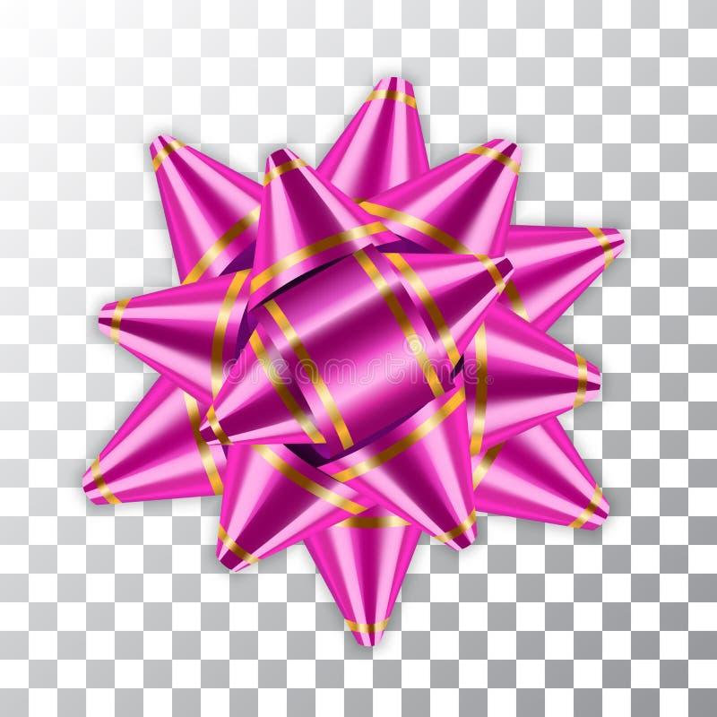 Настоящий момент подарка украшения сатинировки цвета розового пакета элемента оформления ленты 3d смычка сияющий изолировал белую иллюстрация вектора