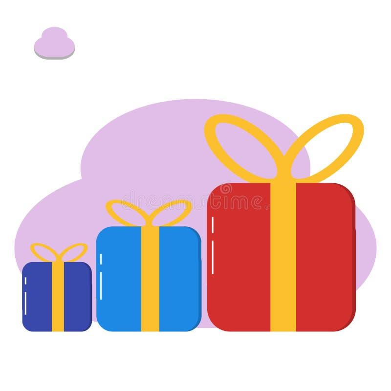 Настоящий момент подарочной коробки, иллюстрация сюрприза - вектор бесплатная иллюстрация