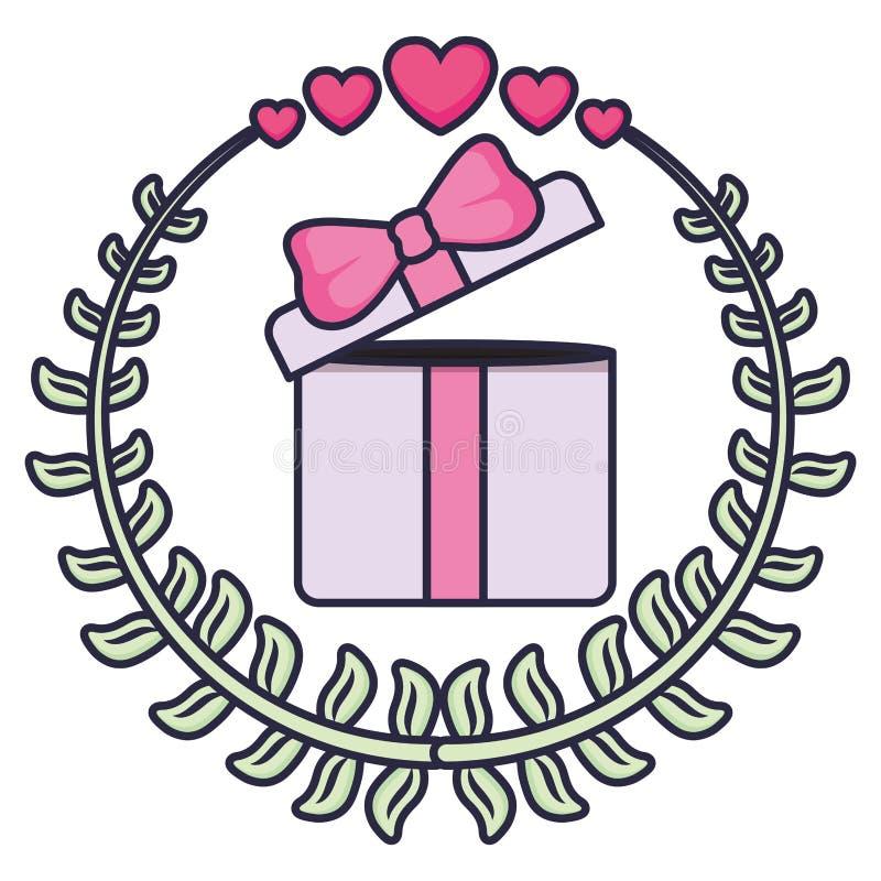 Настоящий момент подарочной коробки с венком и сердцами иллюстрация вектора