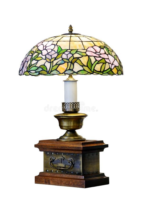 Настольная лампа с тенью цветного стекла античный темный сбор винограда светильника зеленого цвета зарева стола стоковое фото rf