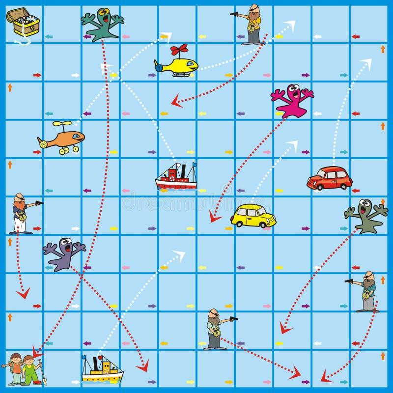 Настольная игра - поиски сокровища иллюстрация штока