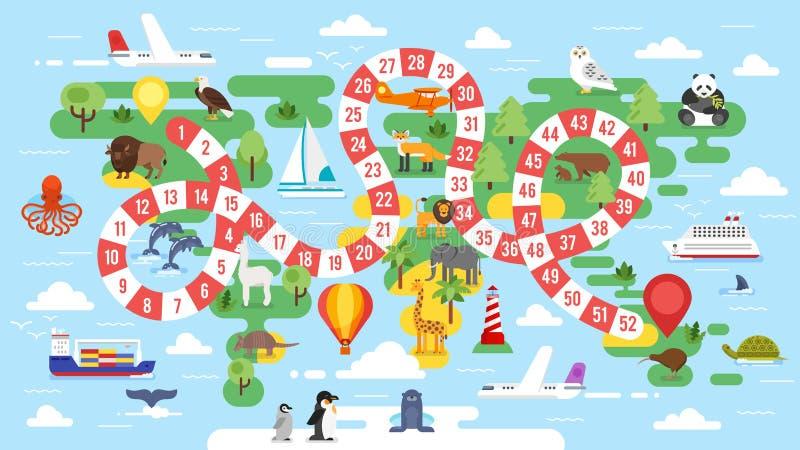 настольная игра путешествия мира детей иллюстрация штока