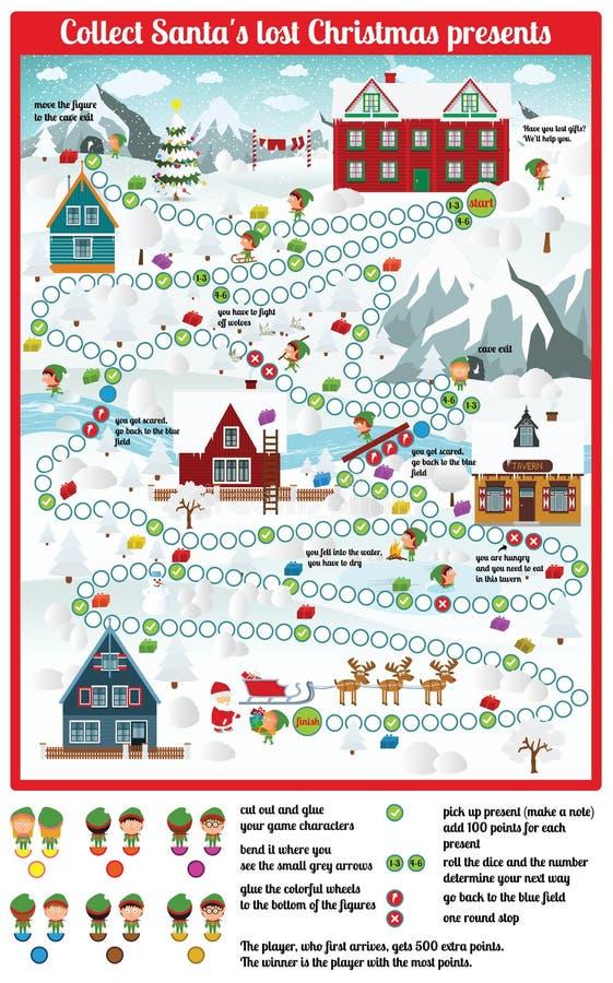 Настольная игра (соберите подарки на рождество Санты потерянные) иллюстрация штока