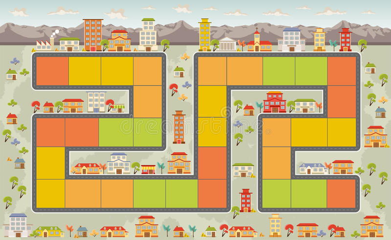 Настольная игра с городом иллюстрация вектора