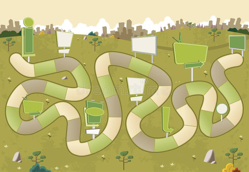 Настольная игра с путем блока на желтом парке с афишами бесплатная иллюстрация