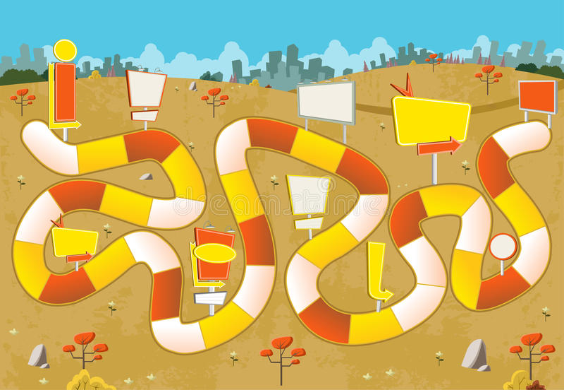 Настольная игра с путем блока на зеленом парке с афишами иллюстрация вектора