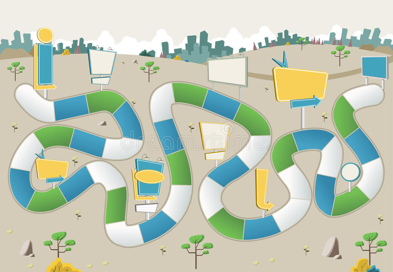 Настольная игра с путем блока на зеленом парке с афишами иллюстрация штока