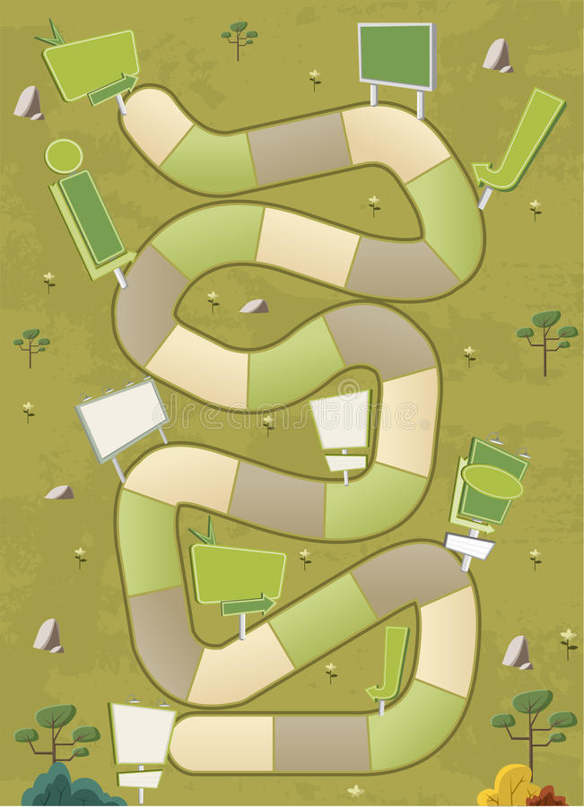 Настольная игра с путем блока на зеленом парке с афишами бесплатная иллюстрация