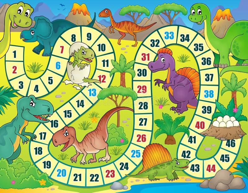 Настольная игра с темой 1 динозавра иллюстрация вектора