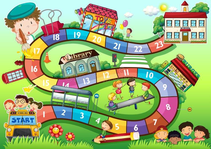 Настольная игра темы школы бесплатная иллюстрация