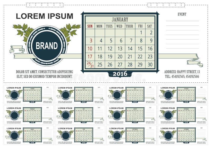 Настольный календарь дела шаблона с космосом для примечаний 2016 Старты недели на воскресенье бесплатная иллюстрация