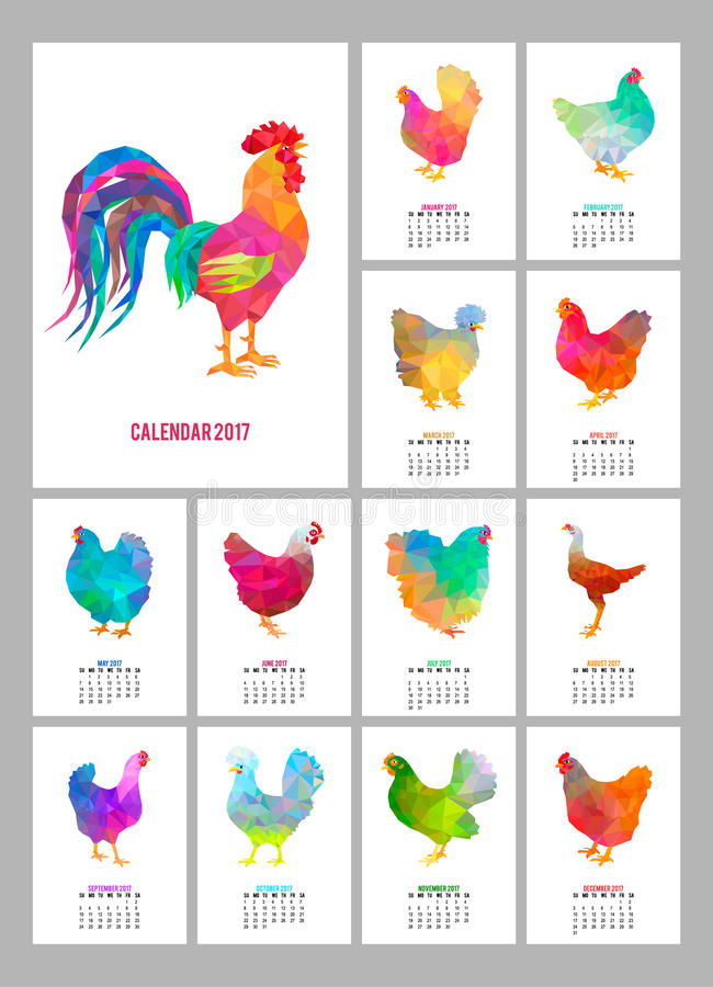 Настольный календарь на 2017 год Комплект 12 красочных месяцев страниц и крышки Абстрактные низкие поли петух и цыплята иллюстрация вектора