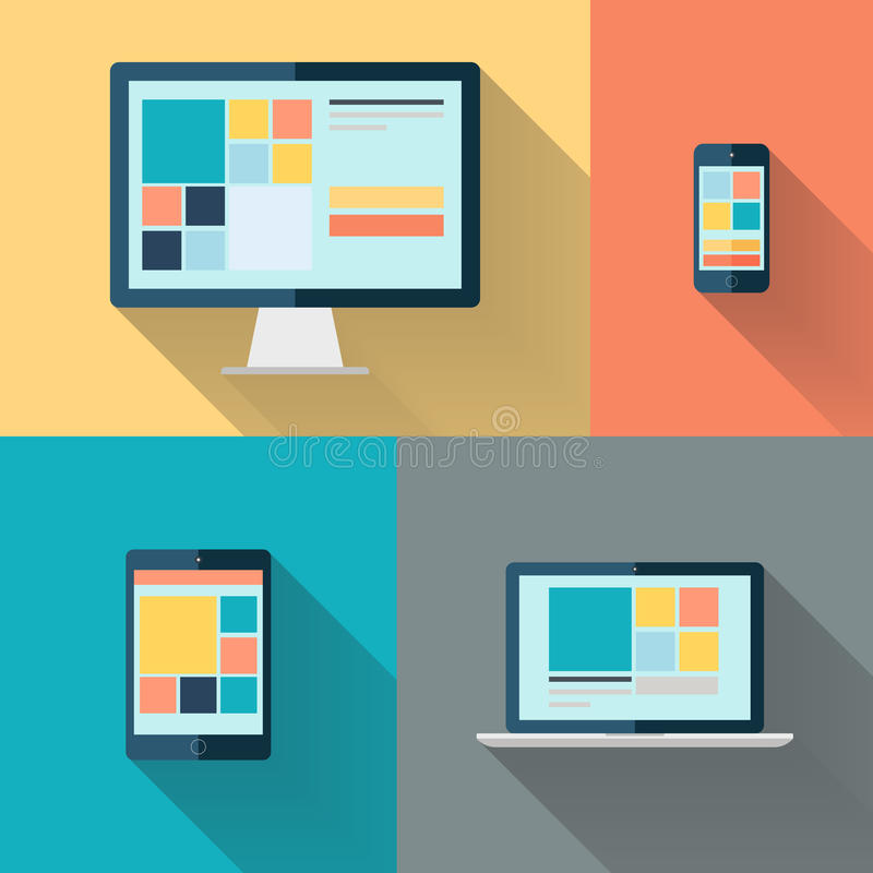 Настольный компьютер, компьтер-книжка, таблетка и умный телефон на предпосылке цвета vector иллюстрация иллюстрация вектора
